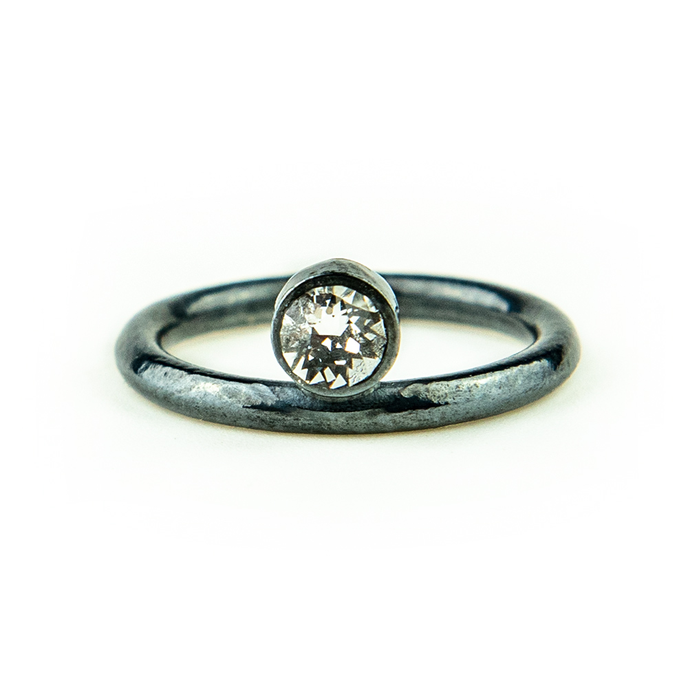 Patinirani prsten srebro i swarovski