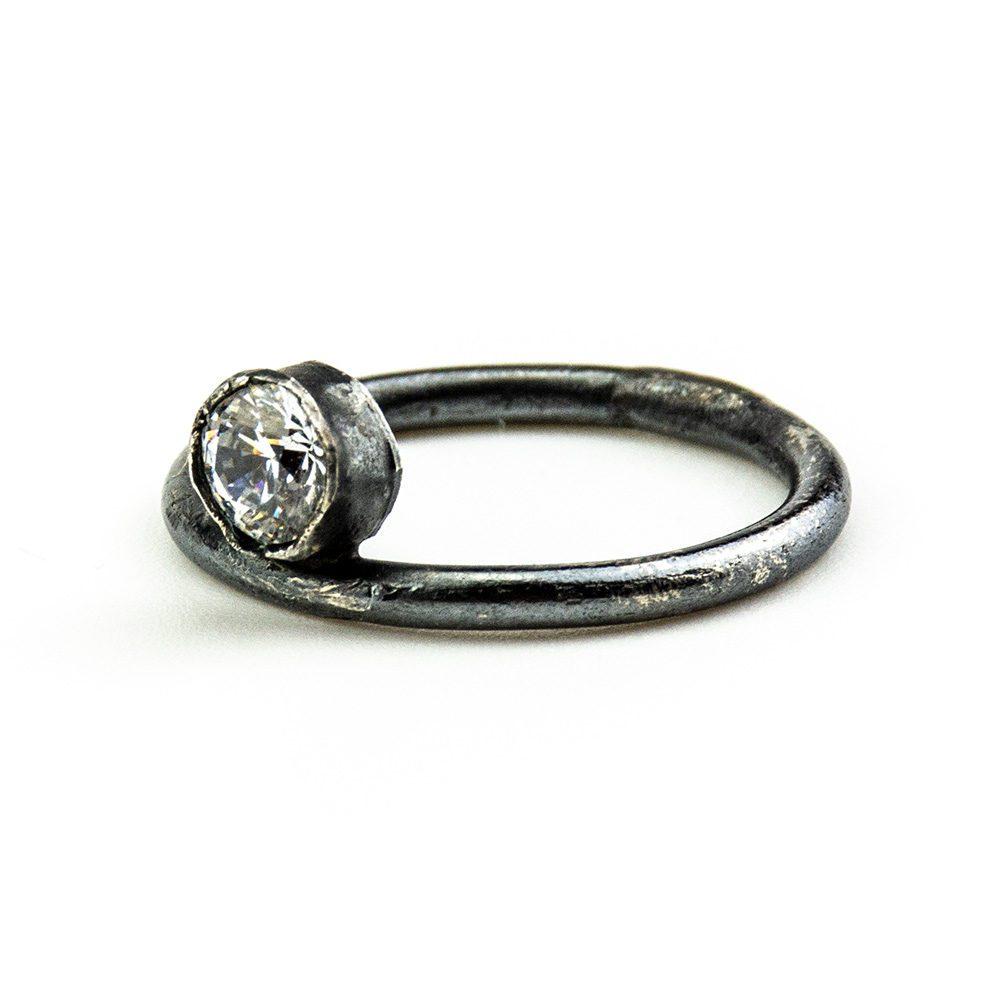 Zaručnički prsten patinirano srebro i swarovski
