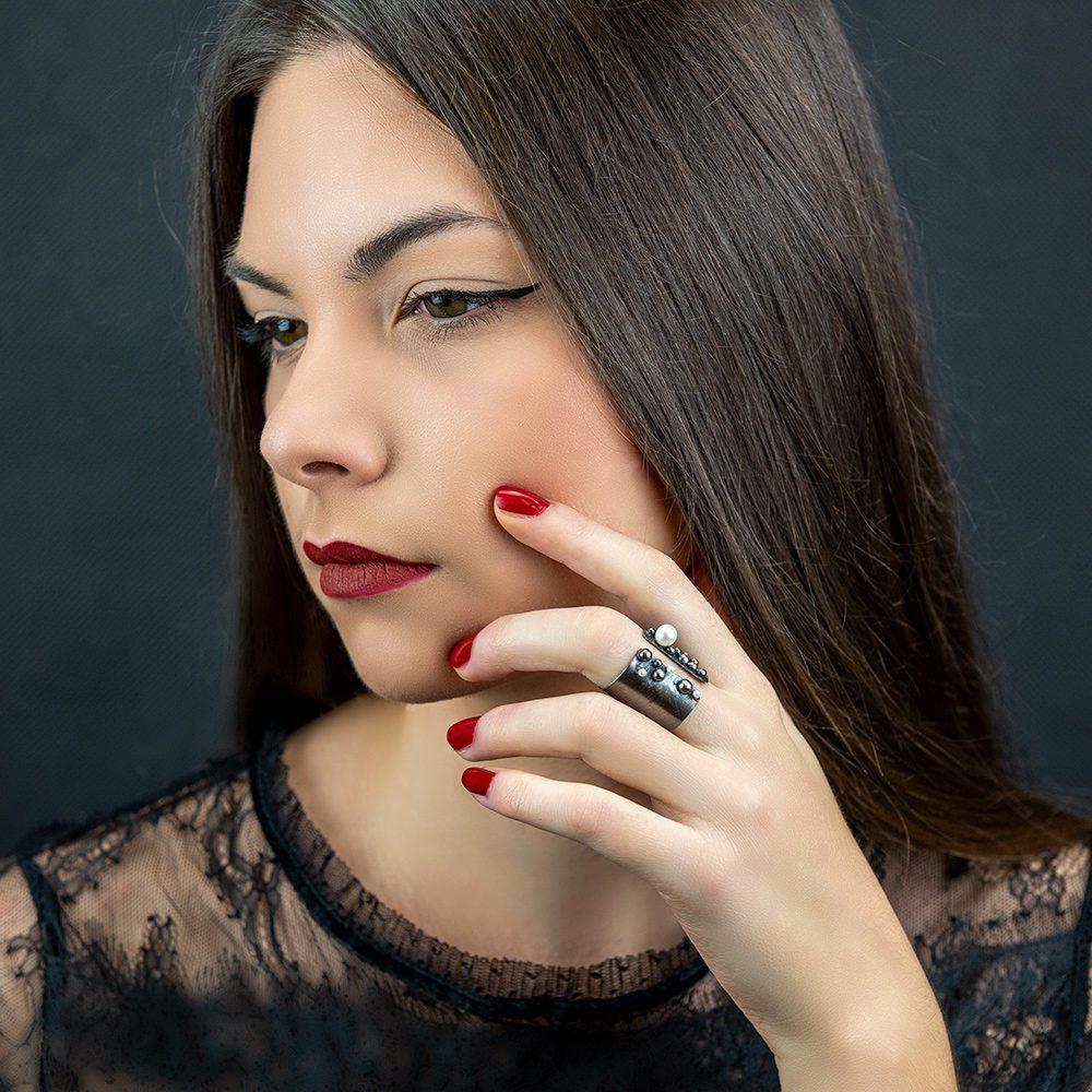 Prsten srebro i biseri model