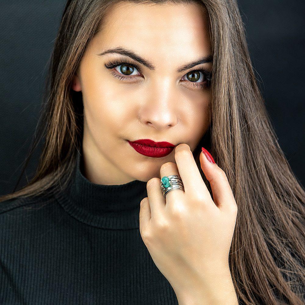 Srebrni prsten s akvamarinom model