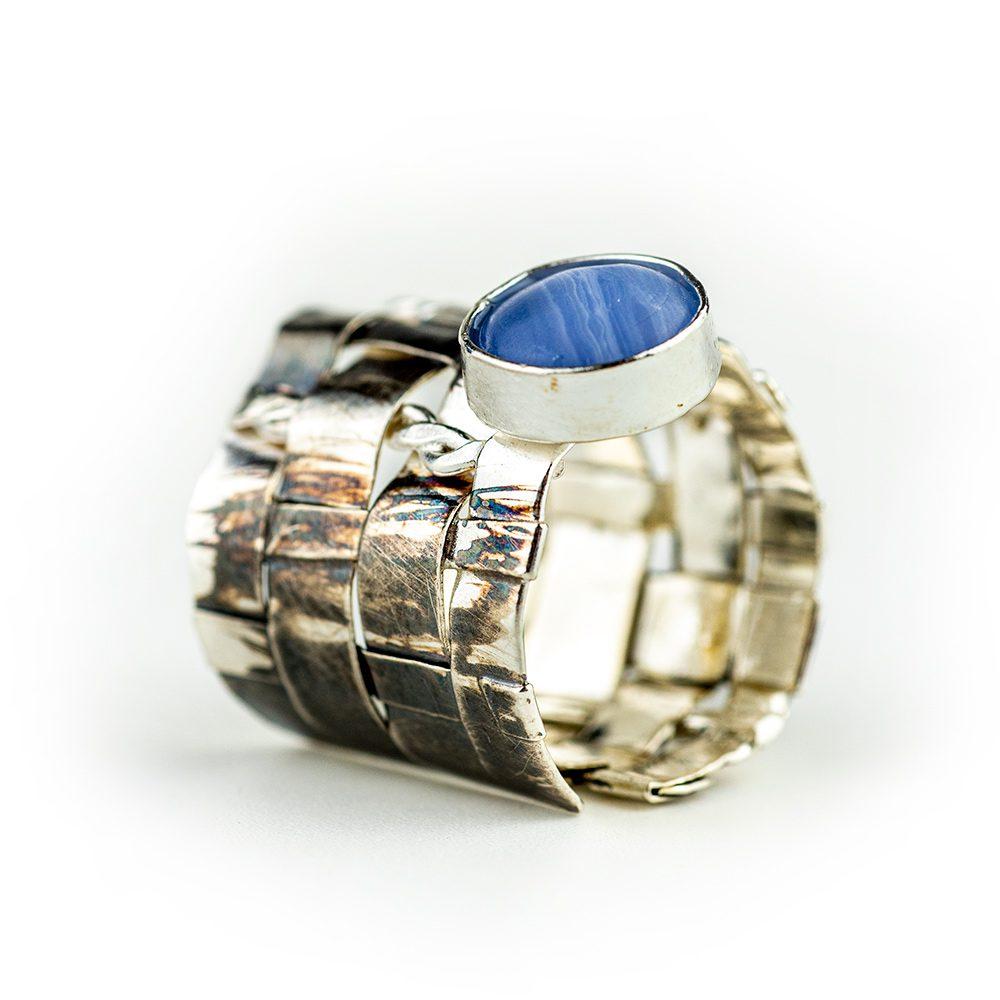 Prsten pleteni sa ćipkastim ahatom