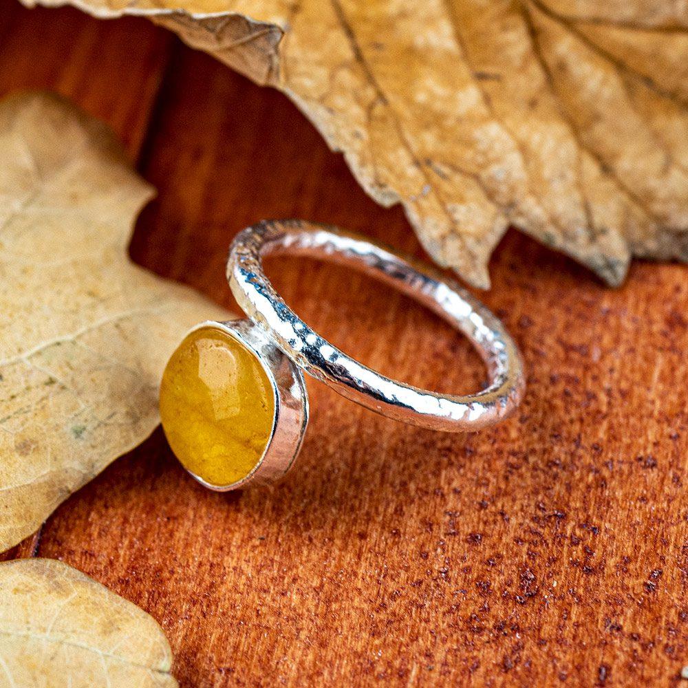 Prsten sjajni od srebra i ahata