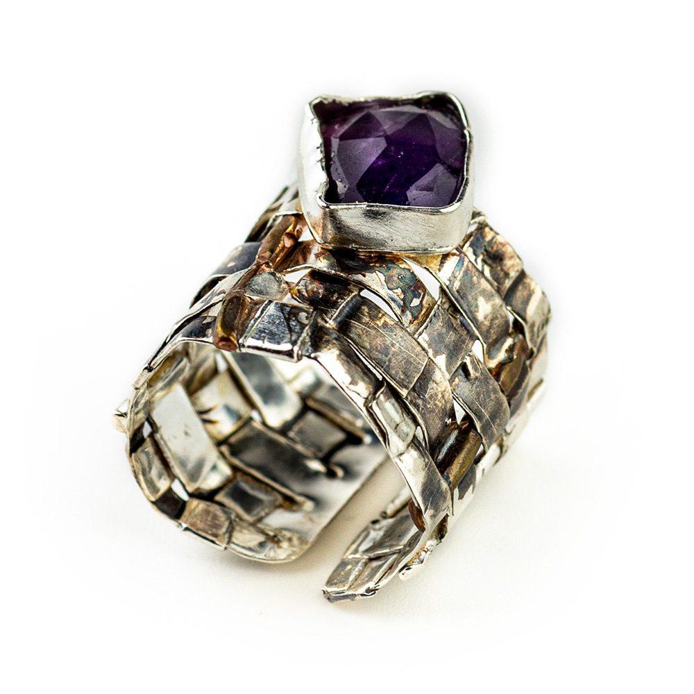 Pleteni prsten od srebra ručni rad